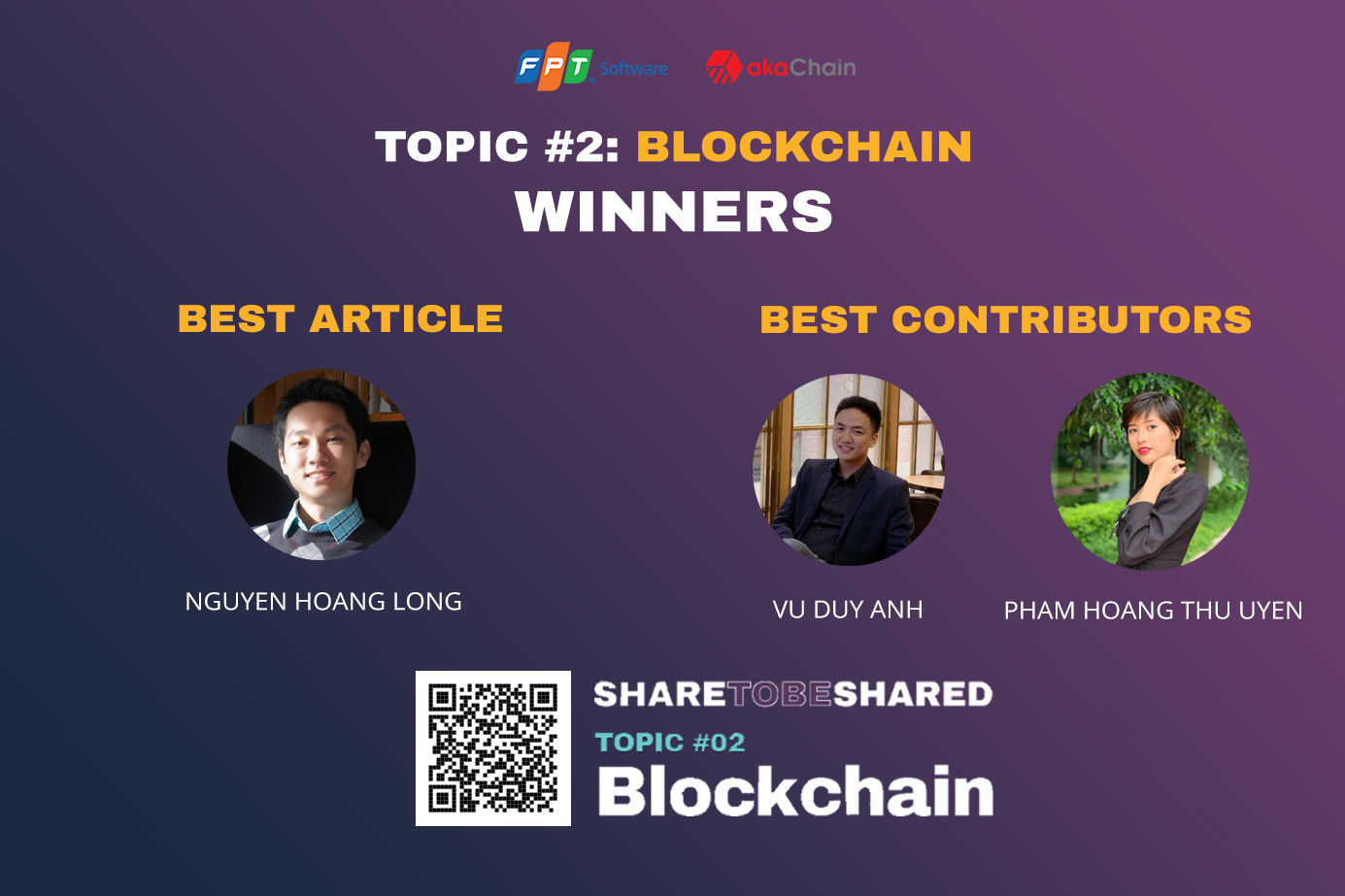 """SHARE TO BE SHARED x akaChain – Announced the Winners of TOPIC #2: BLOCKCHAIN"